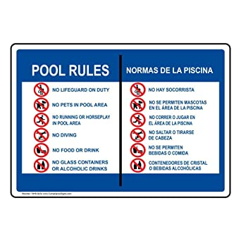 Amazon.com: compliancesigns piscina/SPA Sign, 14 x 10 in. de ...