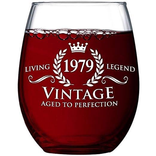 Copa de vino vintage de 1979, regalo de 40 cumpleaños para ...