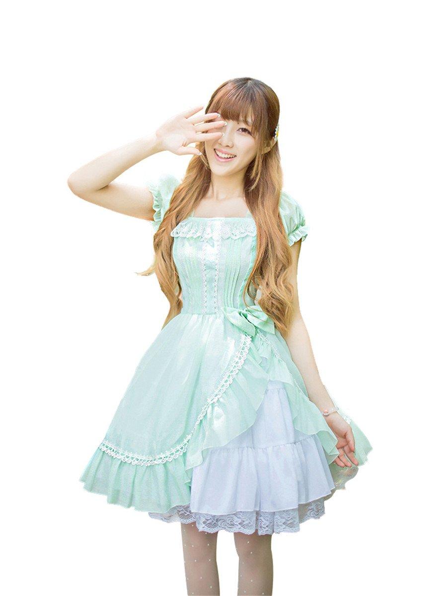 Nuoqi Womens Lolita Dress Summer Sweet Princess Chiffon Dress Anime Mint Green Cosplay Costume CC526A-M