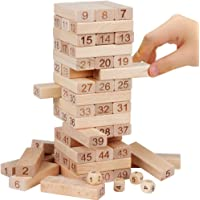 51 pieces of log numbers children's laminated blocks wooden tumbling tower games home garden game toys()