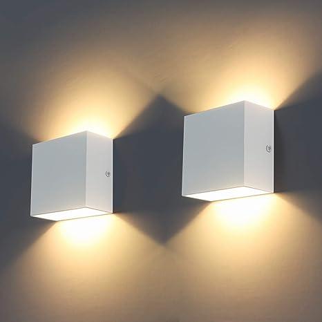 Applique da parete LED, 2Pcs Moderna 6W Lampada da Parete Interno 3000K su  e giù per lampada da parete per soggiorno, camera da letto, corridoio