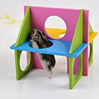 Keersi Funny Wood Exercise House Toy for Pet Dwarf Hamster Gerbil Rat Mouse Small Animal Cage Toy
