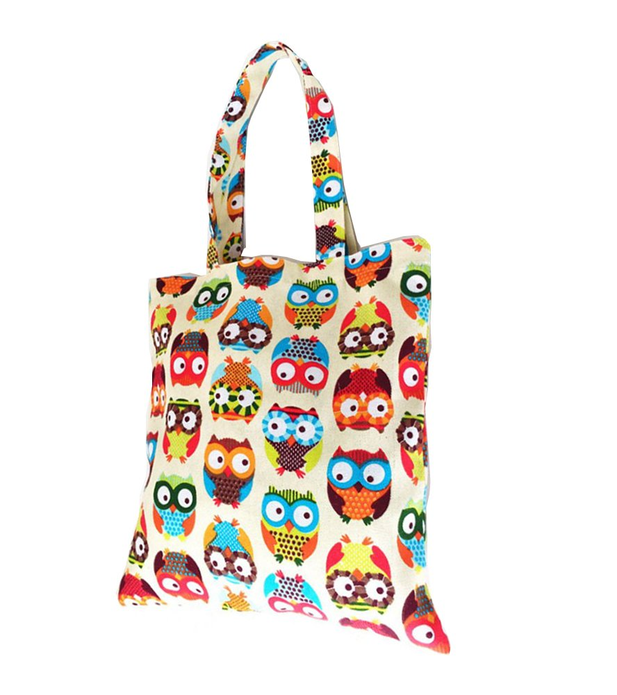 Cdet 1X Shoulder Bag Women Shopping Storage Beach Bag Handbags Lovely Owl Printed Canvas Tote Casual Bag