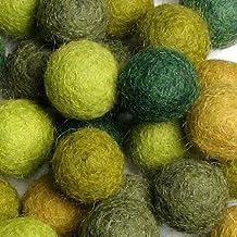 60 Hand-felted Wool Felt Balls 2CM Evergreen HandBEHG Felts Fiber Crafts