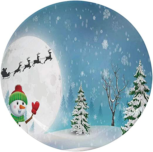 Amazon Com Ylljy00 Christmas Decorations 6 Dinner Plate Jolly Snowman Under Full Moon Waving To Santa Reindeer Sleigh Kids Ceramic Decorative Plates Dining Table Tabletop Home Decor White Blue Home Kitchen