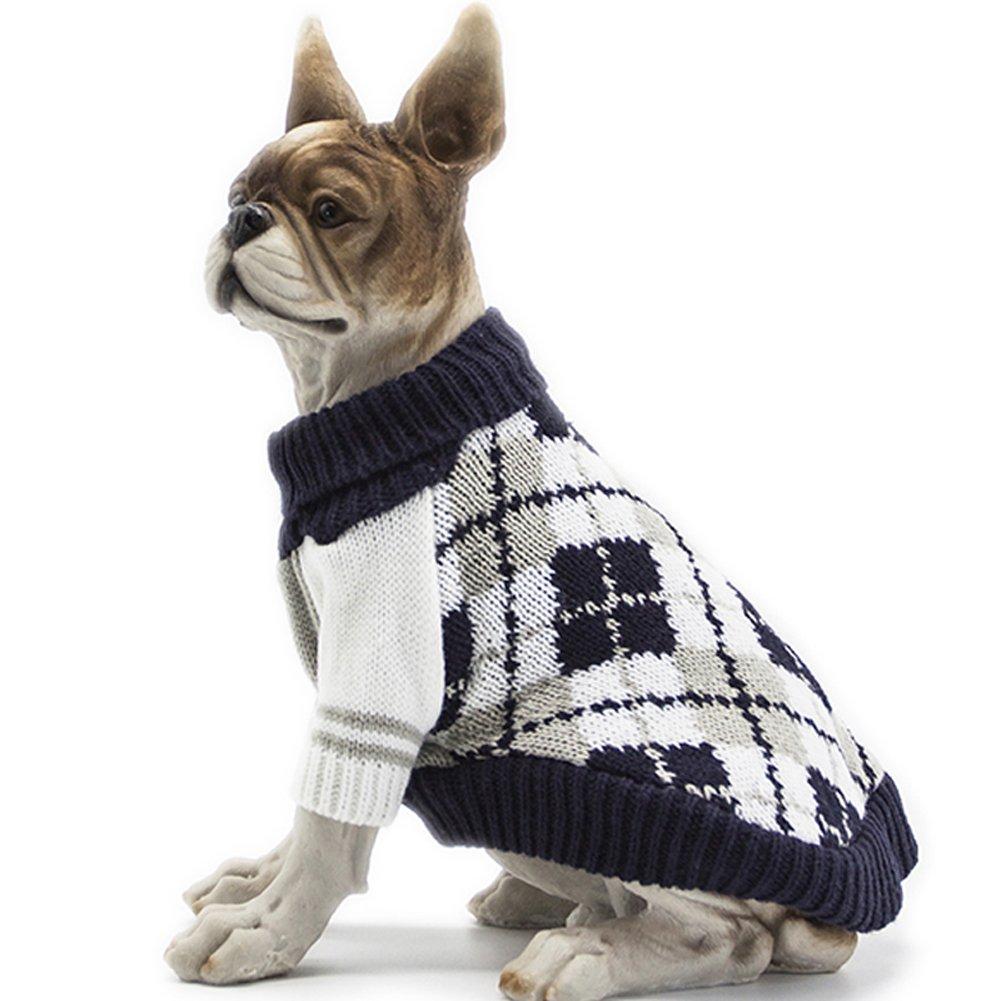 BOBIBI Dog Sweater of the Diamond Plaid Pet Cat Winter Knitwear Warm Clothes,Navy