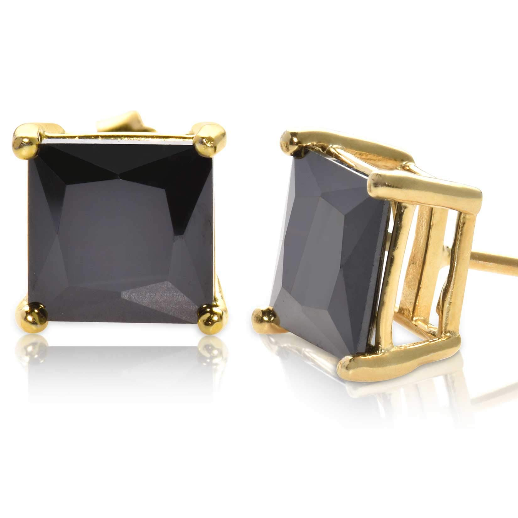 Radiant Princess Square Cut Black CZ Unisex Stud Earrings Gold Plated 925 Sterling Silver 7x7mm