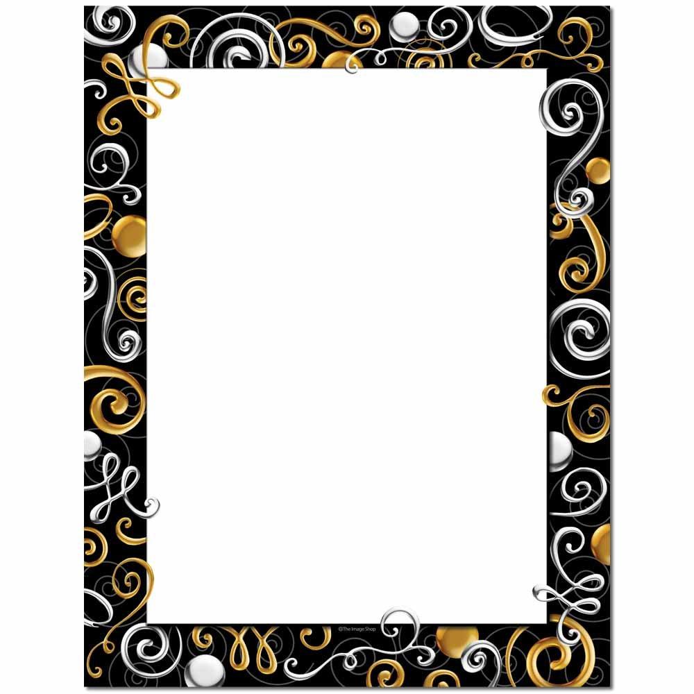 Gold & Silver Swirls Letterhead Laser & Inkjet Printer Paper, 100 pack