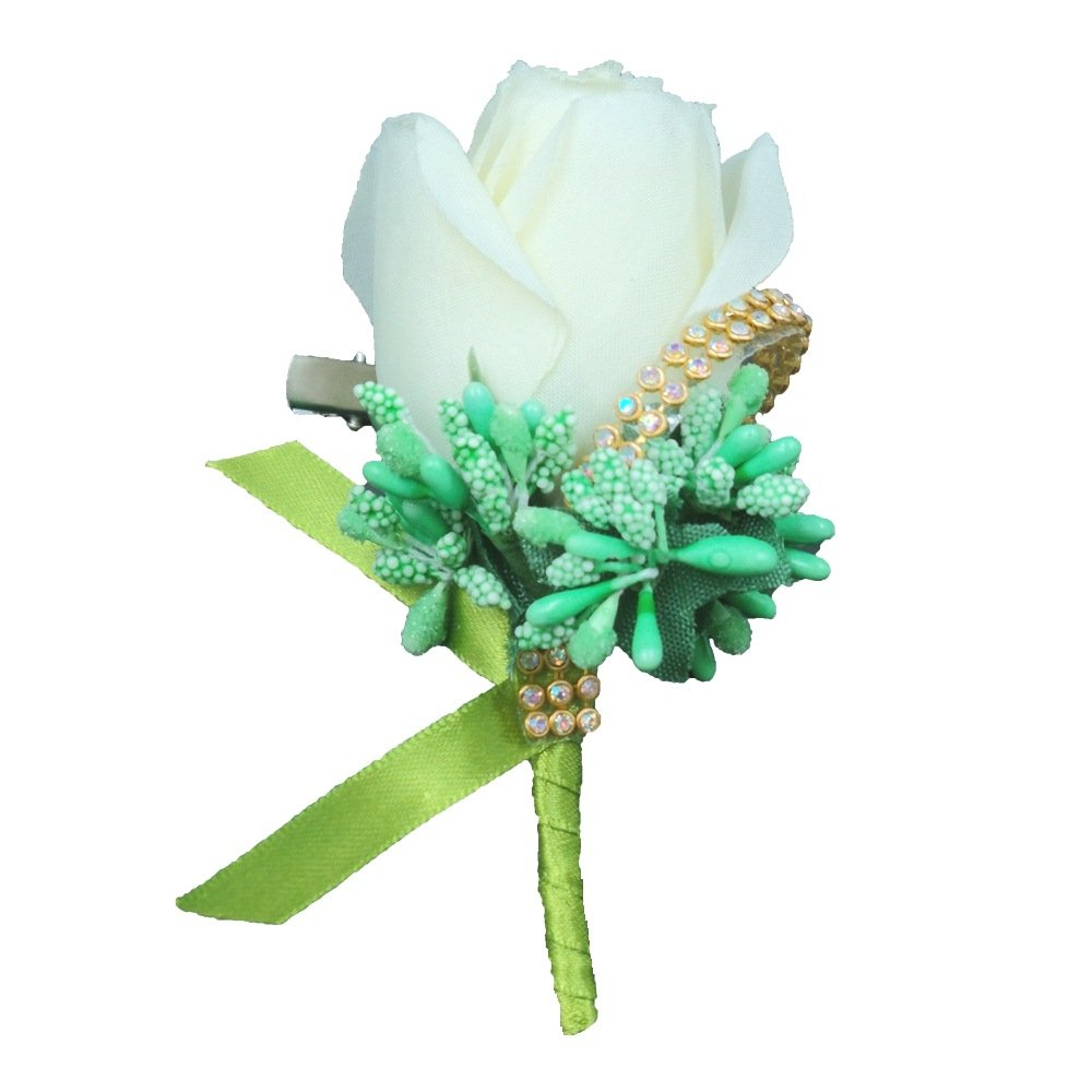 Abbie Home Bridegroom Boutonniere with Clip Brooch Pin for Wedding Party Prom-White