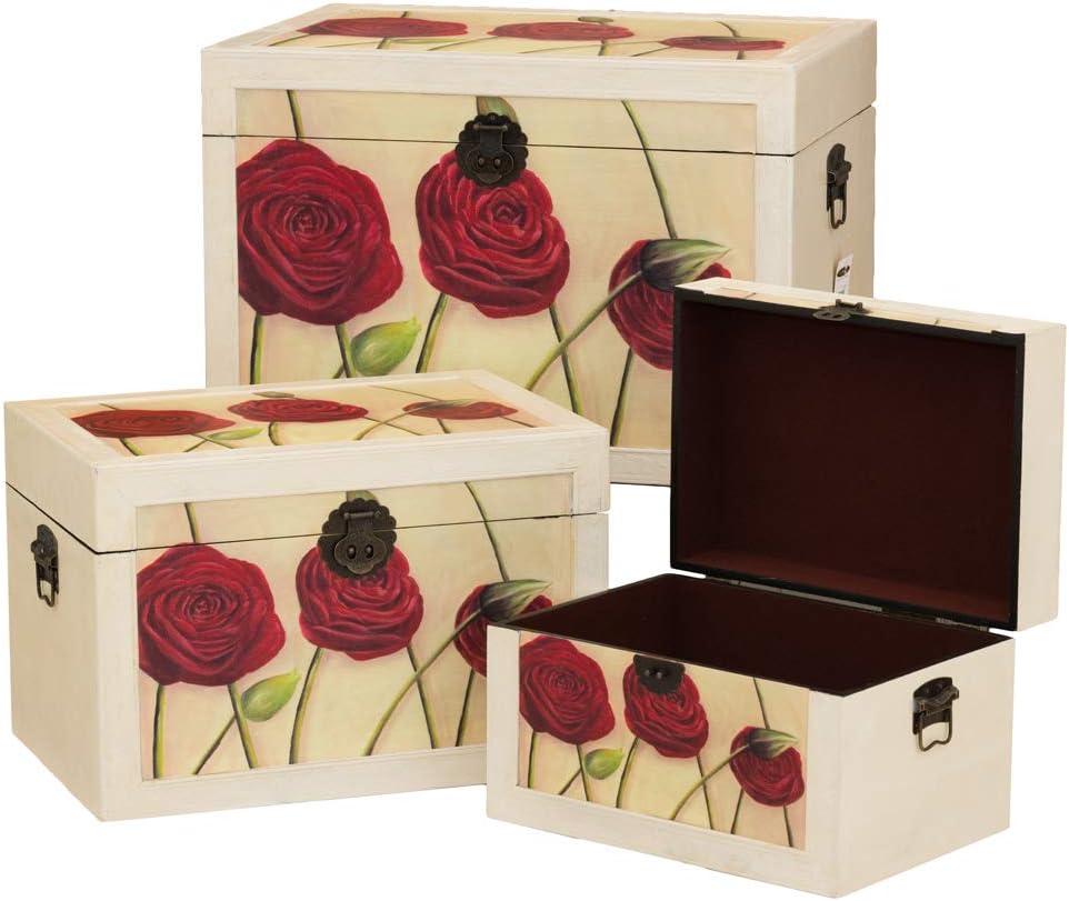 Senza marca/Generico - Juego de 3 baúles cassapanche de Madera matriosca Shabby anticate Vintage decoración 1107: Amazon.es: Hogar