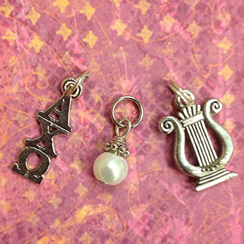 Alpha Chi Omega Trio of Essential Charms Sorority Greek - Lavaliere, Lyre Mascot Charm, & white glass Pearl Dangle