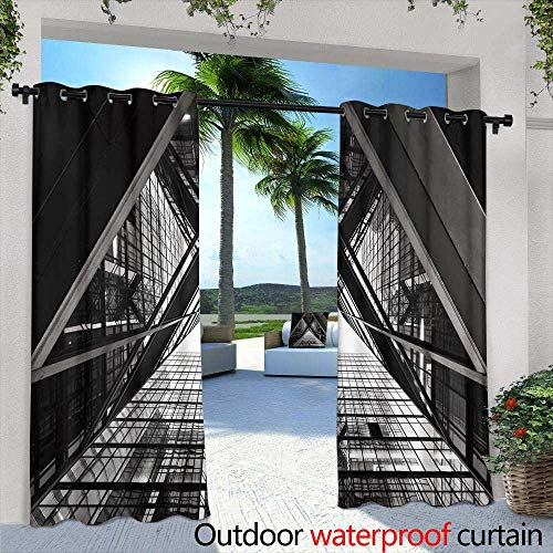 Lightly Outdoor Balcony Privacy Curtain,Abstract Hand Painted Black and White Background Acrylic Painting on Canvas Wallpaper Texture,W72 x L84 Thermal Insulated Water Repellent Drape for Balcony