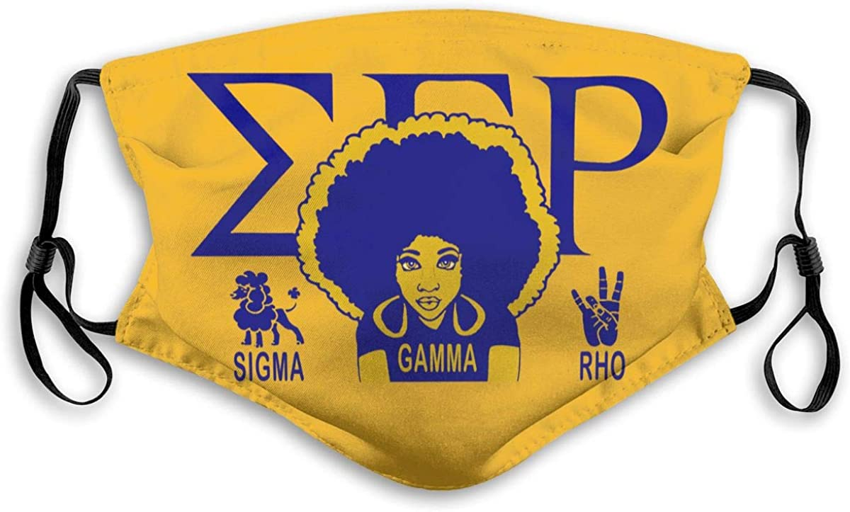 Sigma Gamma Rho Outdoor Mask,Protective 5-Layer Activated Carbon Filters Adult Men Women Bandana