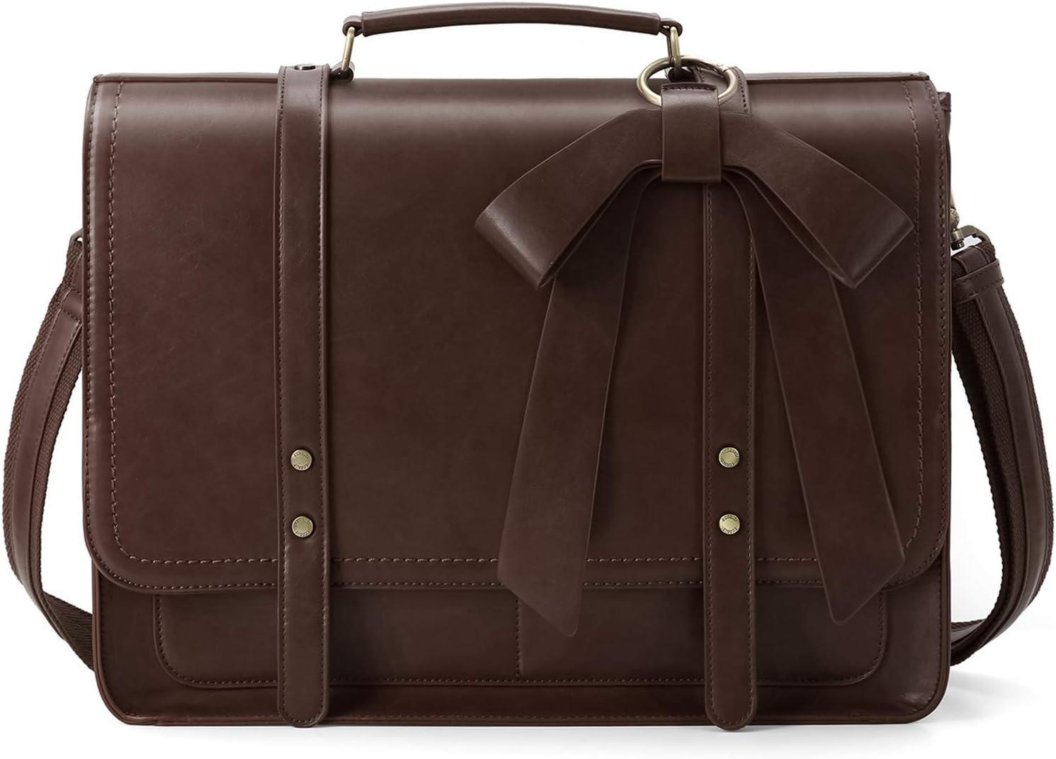 ECOSUSI Bolso Bandolera Cuero Vintage para Mujer con Bolsa de portátil con Lazo Desmontable 15.6 Pulgadas Bolso de Hombro para Mujer Portátiles Sencillo Moda