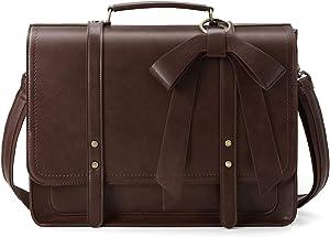 ECOSUSI Women Briefcase PU Leather Laptop Bag College Satchel Bag Professional Shoulder Laptop Bag Computer Bag with Detachable Bow fits 15.6 inch Laptops
