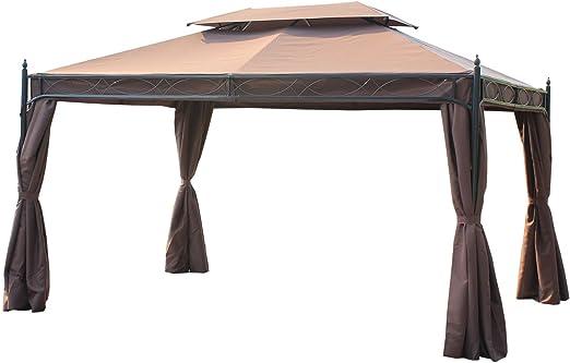 Outsunny Cenador metálico con muros Laterales (4 x 3 m), Patio, cenador para Fiestas, Refugio, para jardín: Amazon.es: Jardín