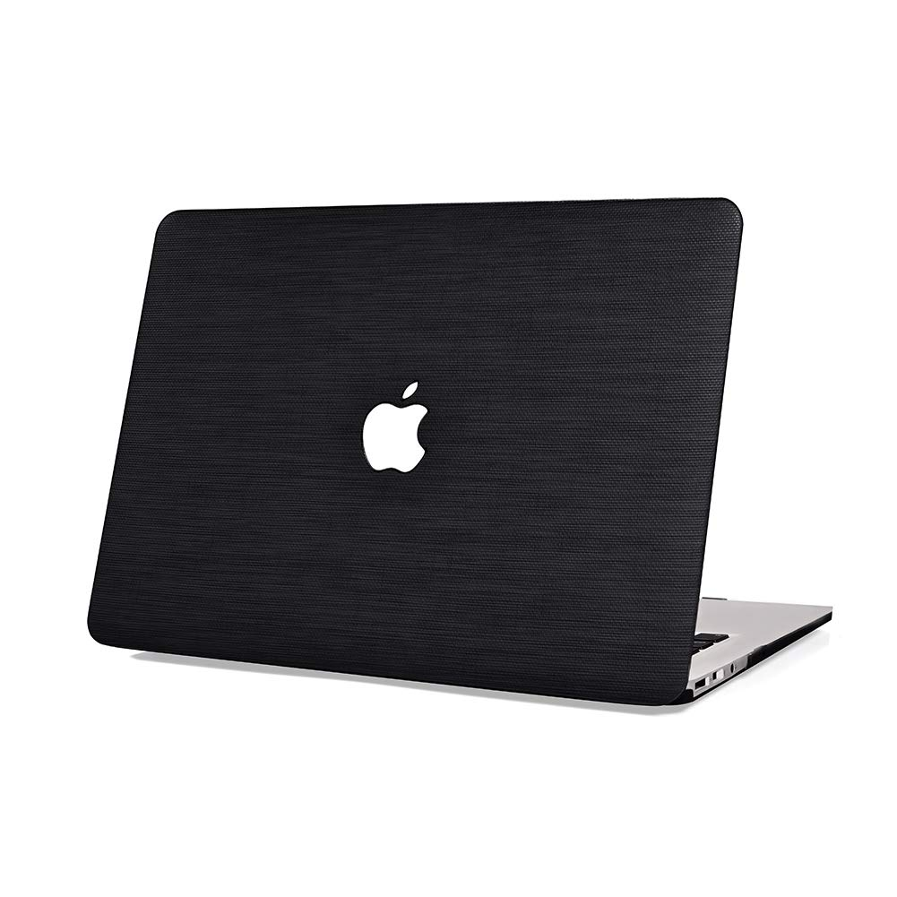 MacBook Pro 13'' Case 2018 2017 2016 Release A1989/A1706/A1708,Rymbo Plastic Cover Snap on Leather Protective Case NO CD-ROM,Black Leather Shell