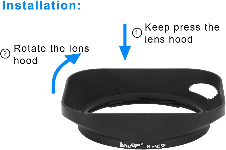 Haoge LH-VM35 Bayonet Metal Square Lens Hood Shade Compatible with Voigtlander Nokton Aspherical ASPH 40mm f//1.2 VM 35mm f1.2 VM 50mm f1.2 VM Leica M Lens Replaces LH-8 Black