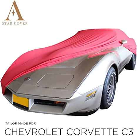 LIVR/É Rapide Oldtimer Voiture DE Sport Rouge Housse B/ÂCHE Auto Garage Star Cover Housse INT/ÉRIEUR Compatible avec Chevrolet Corvette C6 Housse Cabriolet