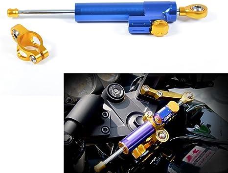 Tencasi Universal CNC Estabilizador de Amortiguador de direcci/ón Ajustable para Motocicleta Titanio y Negro