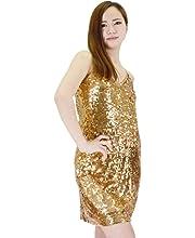 afb6b37b81365 福美康(FUMEIKANG) スパンコール ドレス ワンピース ダンス パーティ ...