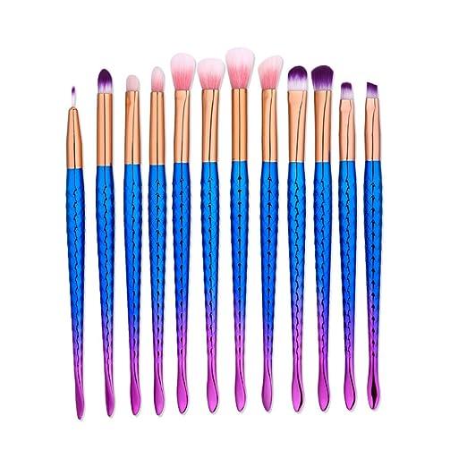 JaneDream Small Colorful Eyeshadow Blending Brushes Set Eyeliner Eyebrow Eye Makeup Brushes Non-slip Handle 12 Pcs Royal Blue
