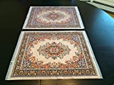 Inusitus Rug Placemats - Set of 2 - Woven Miniature Carpet - Oriental Style Carpet Mats - Beige