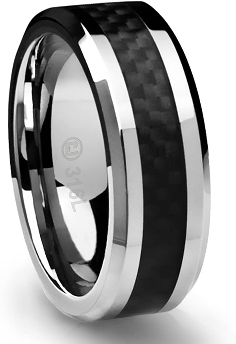 Men/'s Stainless Steel with Inlay
