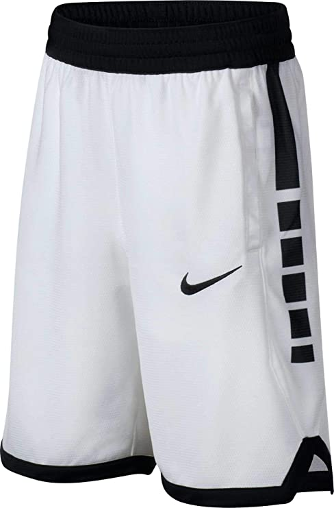 9bc4261d Nike Boys' Dri-FIT Elite Stripe Basketball Shorts (White/Black/Large)