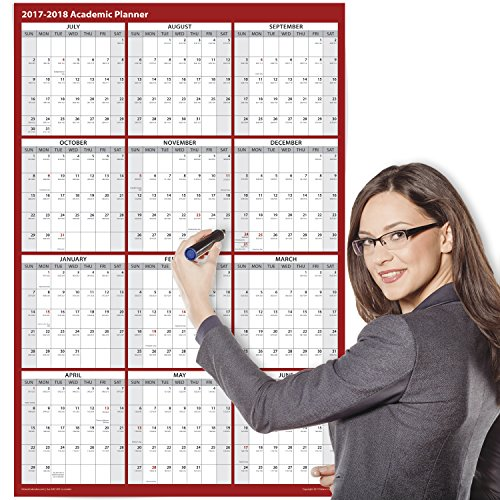 2017 - 2018 Academic Wall Calendar - Erasable - 24 x 36 Inches - 2-Sided Reversible Vertical Horizontal - Mounting Tape Included (Red)