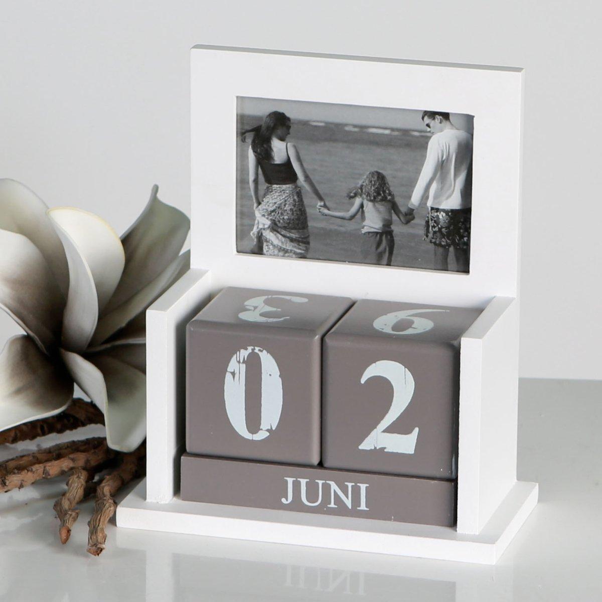 Tischkalender Foto weiss//grau MDF 7x10cm