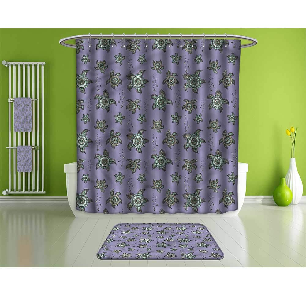 Bathroom Suits &,Turtle,Abstract Marine Animals,Set Includes 1 Shower Curtain, 12 Shower Hooks, 4 Bath Towels, 2 Hand Towels, and 1 Bath Mat.