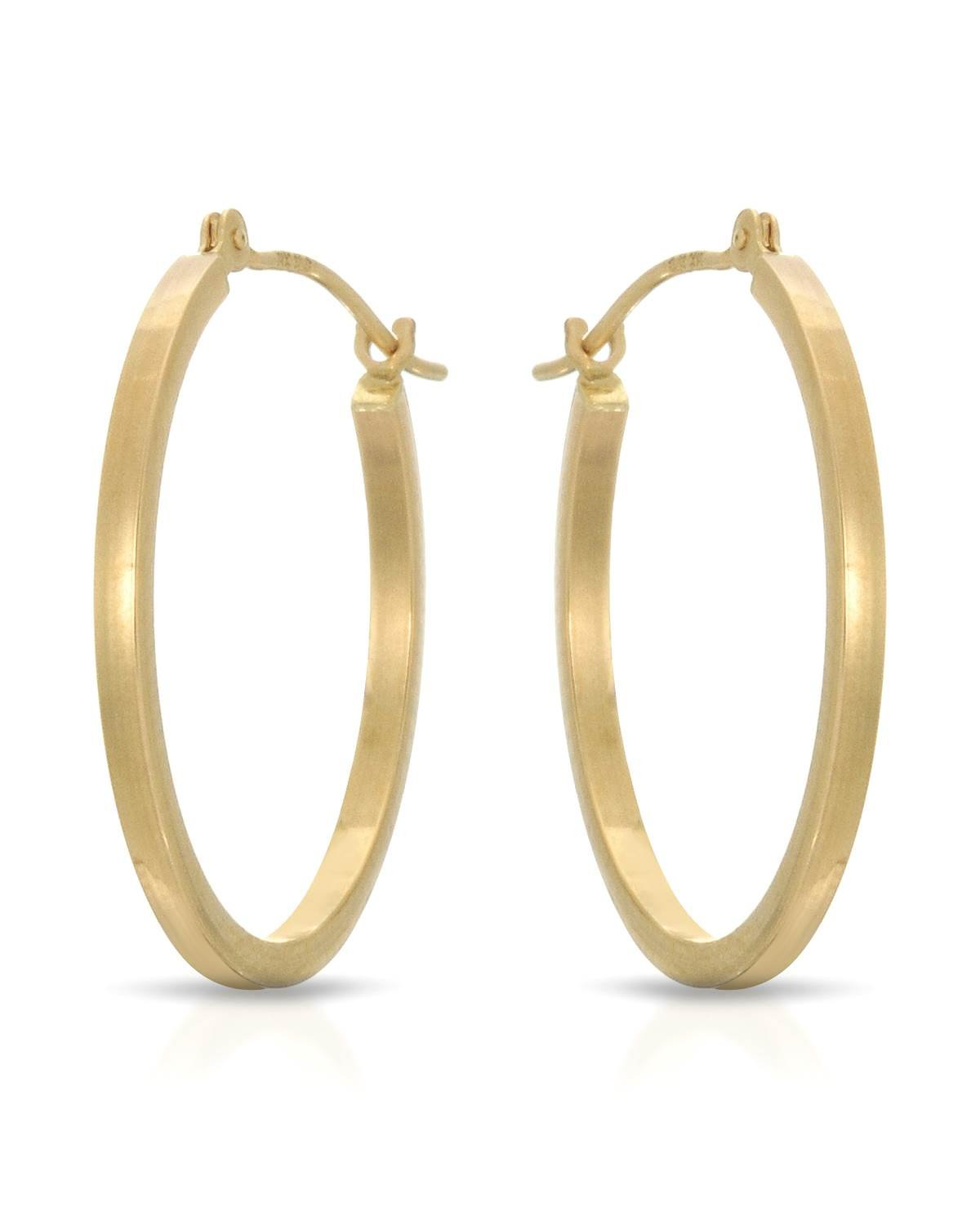 MCS Jewelry 14 Karat Yellow Gold Classic Square Hoop Earrings (Diameter: 25 mm)
