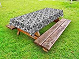 Lunarable Grey Outdoor Tablecloth, Contemporary Floral Graphic Print Various Sized Four Leaf Clovers Garden Plants, Decorative Washable Picnic Table Cloth, 58 X 84 inches, Gray Black White