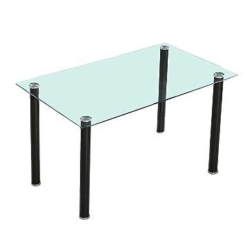 HomeSouth - Mesa de comedor Negra, mesa de cristal para cocina ...