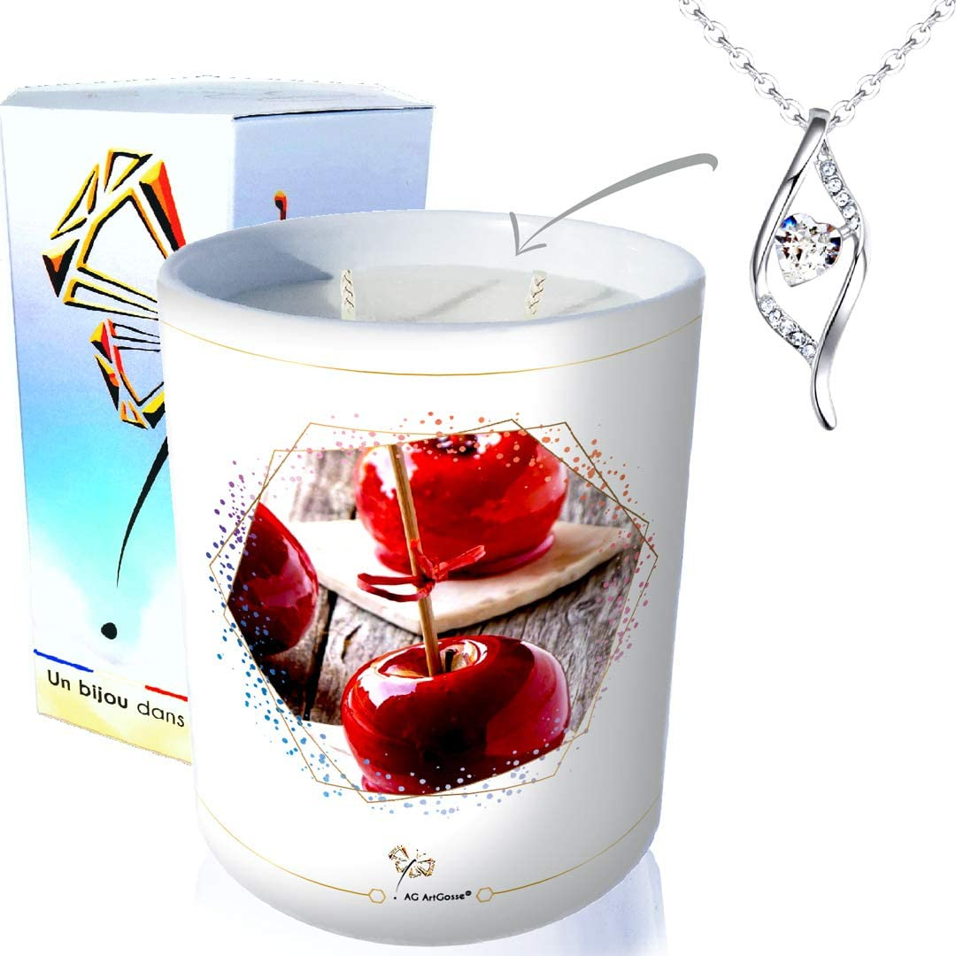 Pendentif ADN ArtGosse Bougie Bijou 2 mèches • Parfum Pomme damour ...
