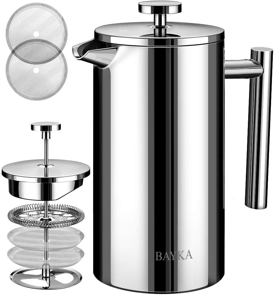 BAYKA Stainless Steel French Press Double-Wall Coffee & Tea Maker, 50oz (1500ml) with 2 Extra Filters, Rust-Free, Dishwasher Safe
