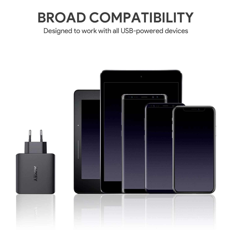 AUKEY Cargador de Pared con 4 Puertos 40W con Tecnología AiPower Cargador USB para iPad Air / Pro, iPhone X / 8 / 8 Plus, Samsung, HTC, LG, Tabletas y ...