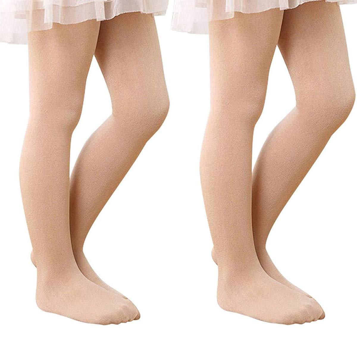 Zando Girl's Ultra Soft Pro Ballet Dance Tight Toddler Kids Footed Leggings Elastic Opaque Pants Tight 2 Pack Skin Color L by Zando (Image #1)