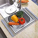 Roll-up Dish Drying Rack,Multipurpose Dish Drainer for Fruits and Vegetables Rinser,Sink Drying Mat with Durable Silicone Covered Stainless Steel(Warm Gray)