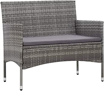 Canditree Outdoor Poly Rattan Loveseat with Cushion, Garden Sofa Bench All Weather for Patio Poolside (Gray)