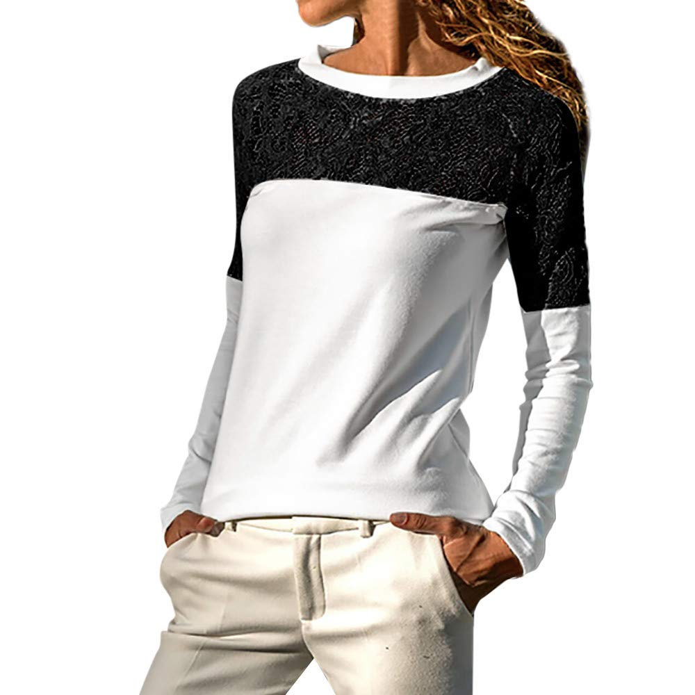 Eduavar Womens Fashion Casual Lace Hollow Out Tops Blouse Solid Color Round Neck Long Sleeve Loose Shirts for Women