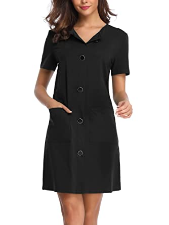 a919587a7 HUHOT Black Midi Dress, Women's Short Sleeves Split Neck Endless Summer  Casual Shift Dress with
