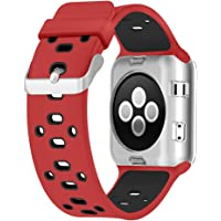 UMTELE Compatible for Apple Watch Band 42mm, Soft Silicone Replacement Band Sport Strap with Ventilation Holes Replacement with Apple Watch Nike+, Series 3,Series 2, Series 3, Sport, Edition, Red/Black