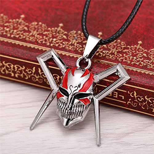 usongs Anime Bleach Kurosaki Ichigo mask necklace pendant leather cord punk rock surrounding second element anti-allergy necklace (Bleach Ichigo Kurosaki Necklace)