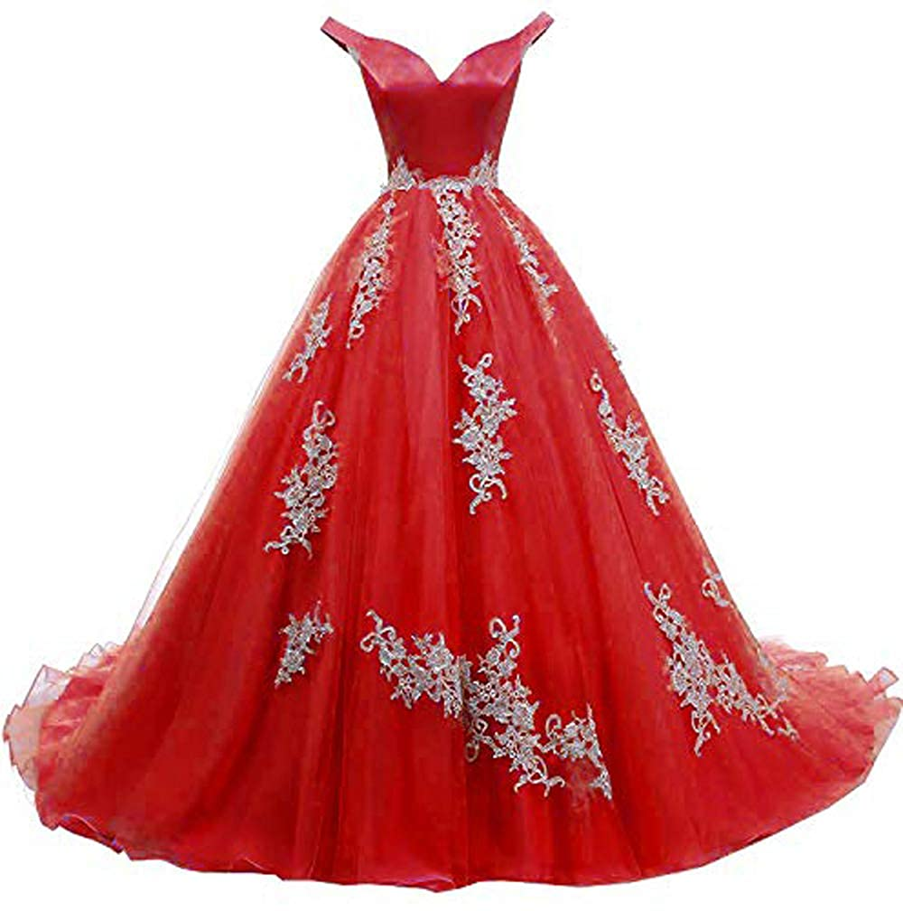 Red MariRobe Women's lace Applique Quinceanera Dresses 2019 Off The Shoulder Prom Dress Backlesss Evening Dress Prom Gown