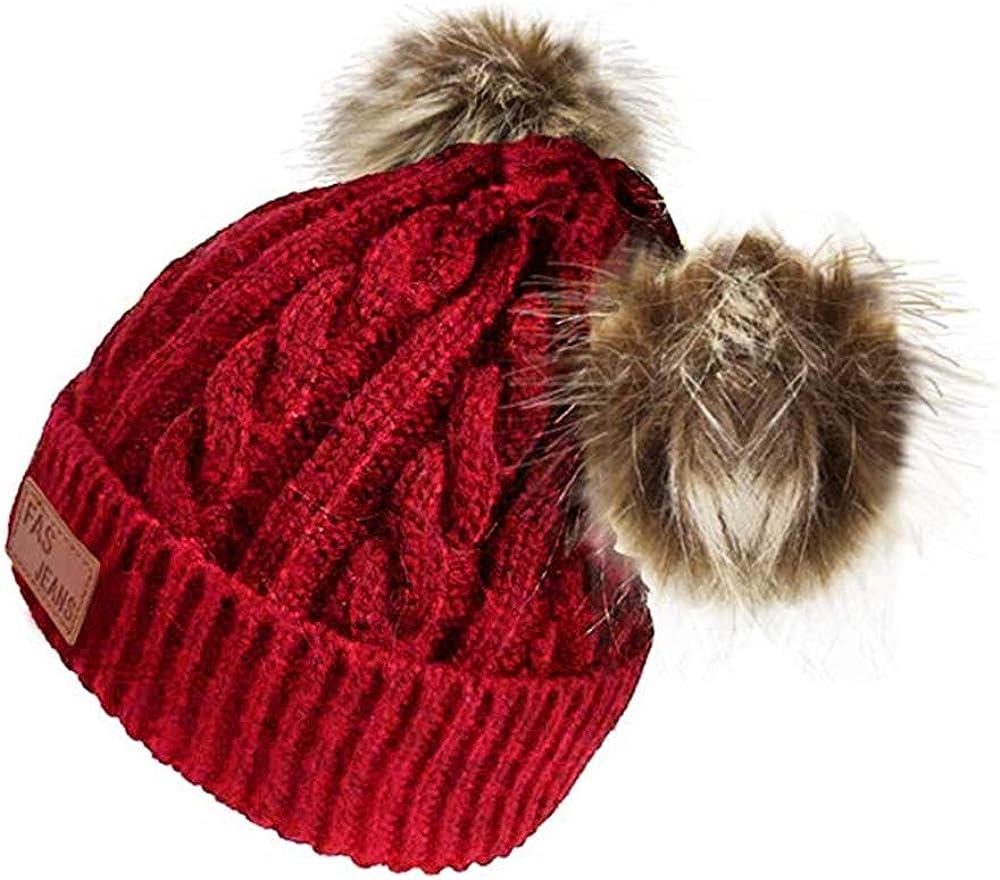 2020 Baby Knitting Woolen Hat Warm Winter Pure Color Double Pom Pom Boys Girls