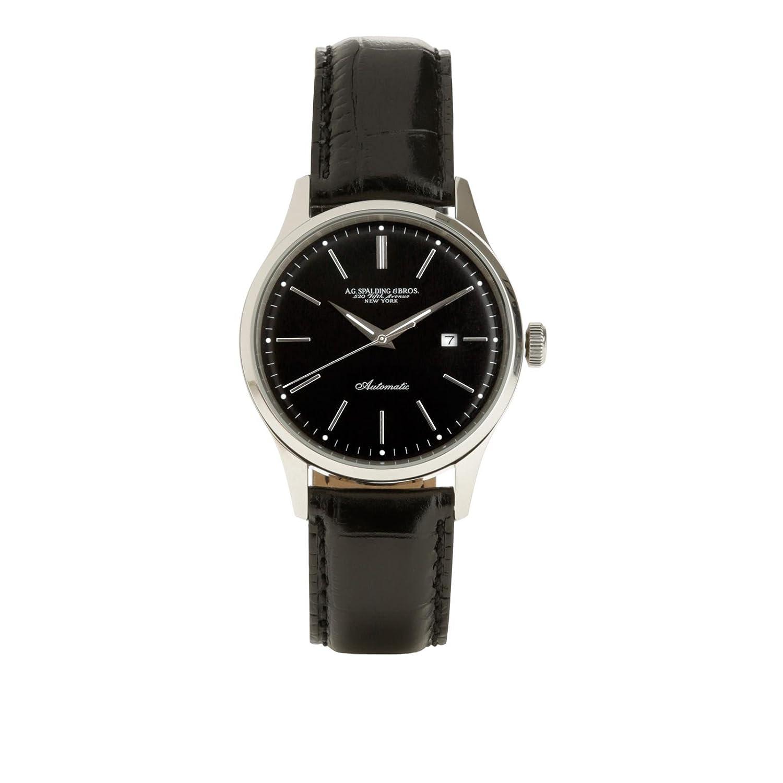 Orologio da polso con cinturino in pelle | Spalding & Bros. | 174336-Nero