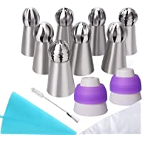 22 Pcs Russian Piping Tips Set, Messar 8 Pcs Stainless Steel Russian Piping Ball Tips Icing Nozzles Set with 2 Couplers…
