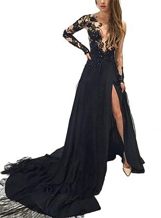 9ee95ad91be3 SDRESS Women s Elegant Appliques Scoop Long Sleeve Side Slit Formal Evening  Dress Black Size 2